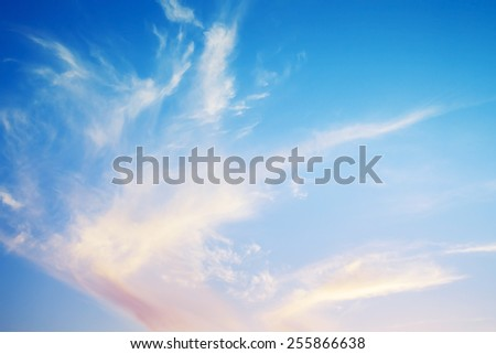 Natural bright cloudy evening sky background photo texture - stock photo