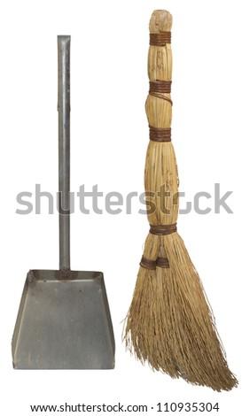 Natural broom and dustpan - stock photo