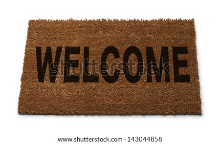 Natural Brown Door Mat with Welcome on it Isolated on White Background. - stock photo
