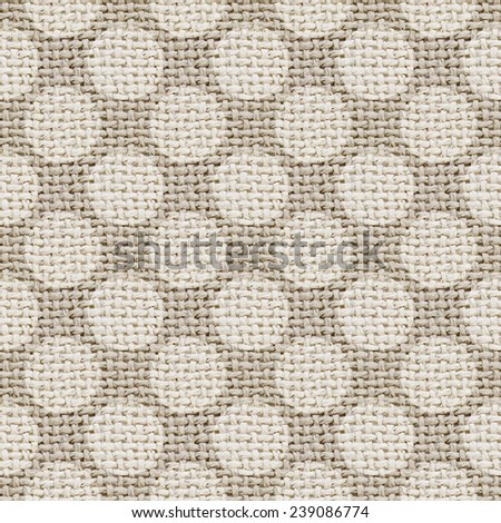 natural burlap texture digital paper with polka dots - tileable pattern - stock photo