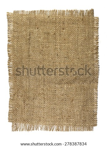 Natural burlap texture on a white background
