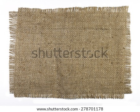 Natural burlap texture on a white background - stock photo