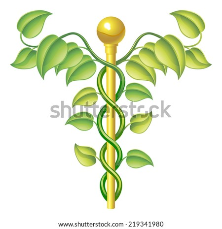 Natural caduceus concept, can be used for natural or alternative medicine etc. - stock photo