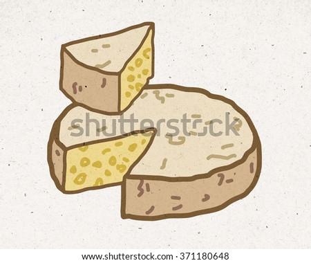 natural cheese illustration - stock photo