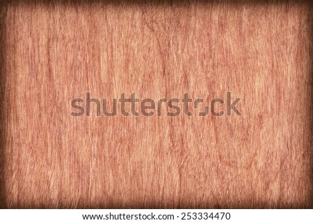 Natural Cherry Wood Brownish Red Veneer, bleached, stained, vignette, grunge texture sample. - stock photo