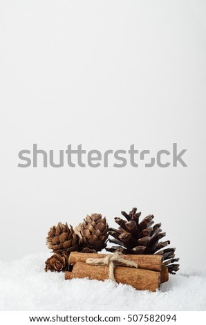 Natural Christmas decorations.  Fir cones and cinnamon stick bundle on artificial snow with copy space above.