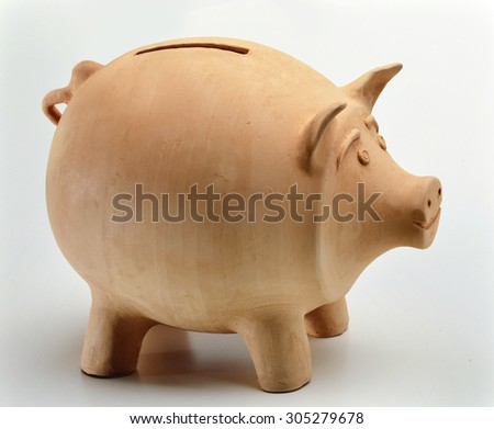 Natural Clay Piggy Bank - stock photo
