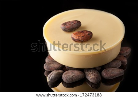 Natural cocoa oil and cocoa beans on black background - stock photo