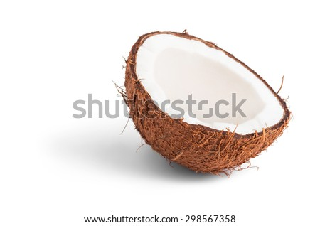 Natural coconut half isolated on white - stock photo