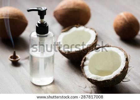 Natural coconut oil - stock photo