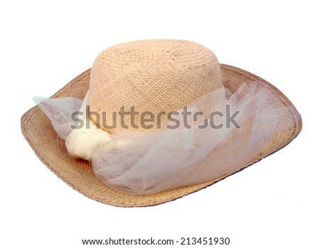 natural colored vintage straw hat isolated on white background - stock photo