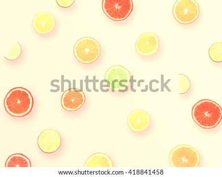 Natural Colorful Pattern Background Made of Citrus Fruits Orange, LIme, Grapefruit with Long Shadow. Top View. Flat Design - stock photo