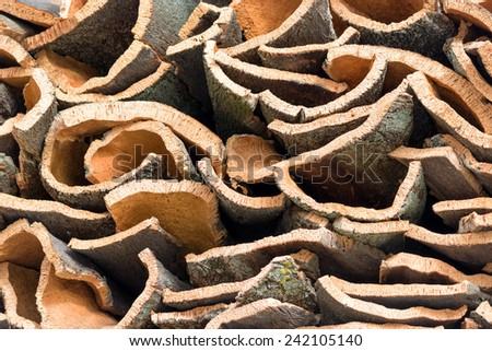 natural cork bark stacked - stock photo