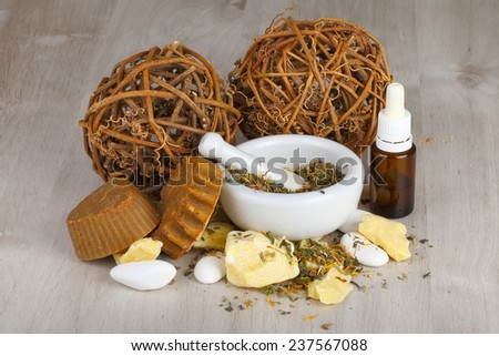 Natural cosmetics and soaps handmade from organic oils and herbs.  - stock photo