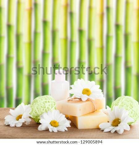 Natural cosmetics concept: soap and cream - stock photo