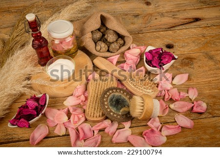 Natural cosmetics with some  its ingredients - stock photo