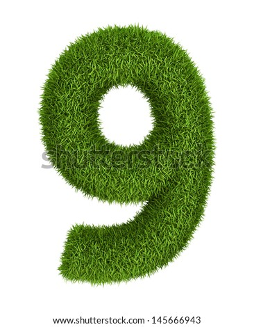 Natural 3d isolated photo realistic grass number 9