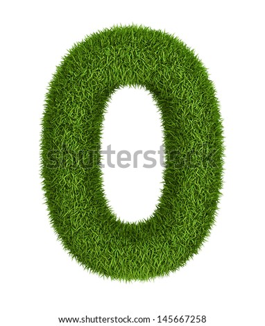 Natural 3d isolated photo realistic grass number 0 - stock photo