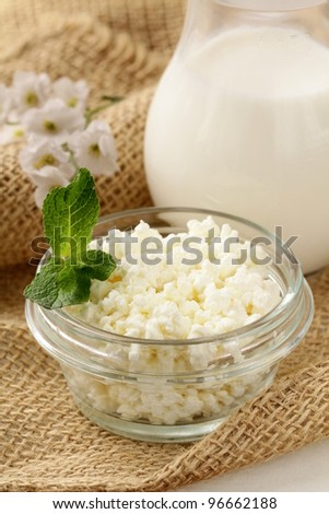 natural dairy product cottage cheese on a wooden table, rustic style - stock photo