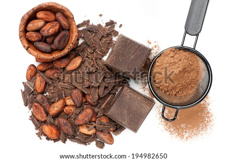 Natural dark chocolate and cocoa on white - stock photo