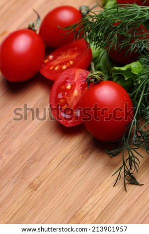 Natural dietary vegetables on a wooden table
