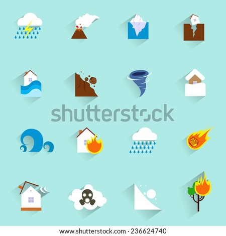Natural disaster catastrophe and crisis icons flat set isolated  illustration - stock photo