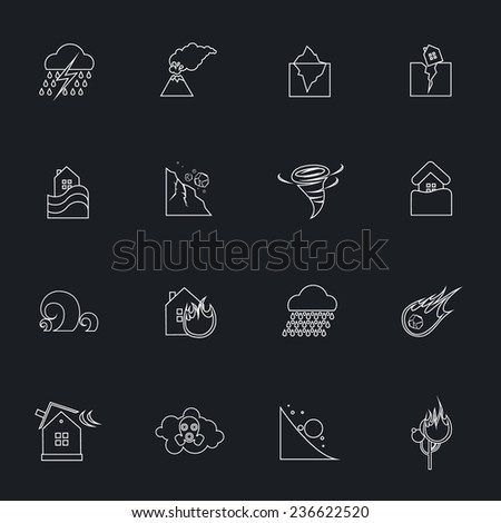 Natural disaster danger outline icons set with tsunami snow thunderstorm isolated  illustration - stock photo