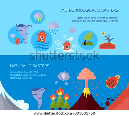 Natural disaster 2 flat banners composition - stock photo
