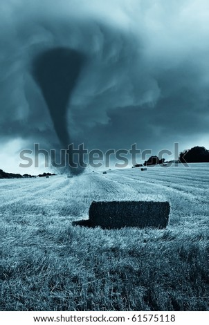 natural disaster incoming from the horizon - stock photo
