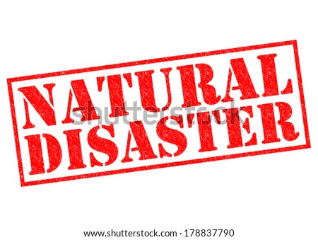 NATURAL DISASTER red Rubber Stamp over a white background. - stock photo