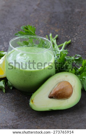 natural drink smoothie with avocado, herbs and yogurt - stock photo