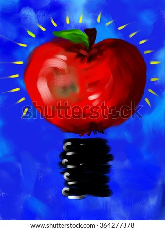 Natural energy concept. Idea concept. Green energy. Red apple with blue background. Digital art illustration of fruit and light bulb 2-in-1 - stock photo