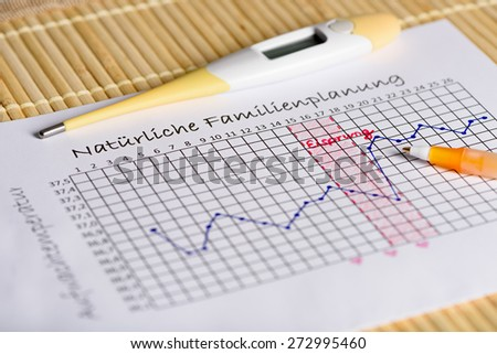 Natural Family Planning: waiting for the right moment. Thermometer with body temperature curve. Translation: Natural family Planning (Title), Ovulation (middle), Waking basal body temperature (side) - stock photo