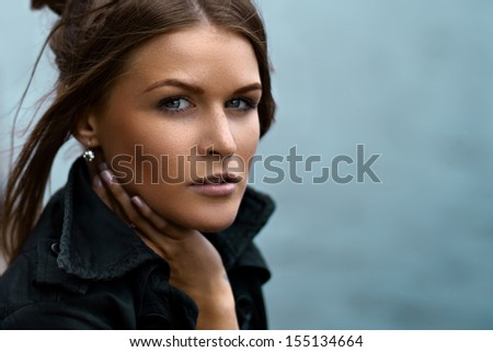 Natural fashionable beauty of a woman face - stock photo