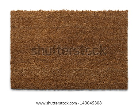 Natural Fiber Welcome Mat with Copy Space Isolated on White Background. - stock photo