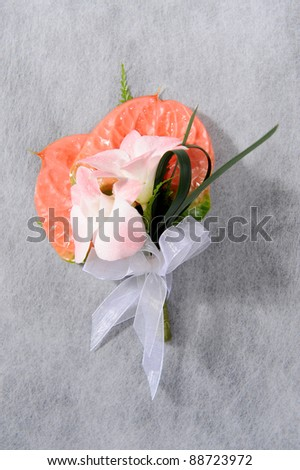 natural flower corsage for prom - stock photo