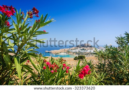 Natural flower frame with Lindos village - stock photo