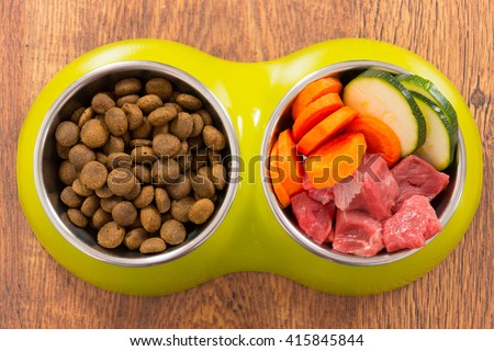 Natural food in a bowl as opposite of dry dog'd food  - stock photo