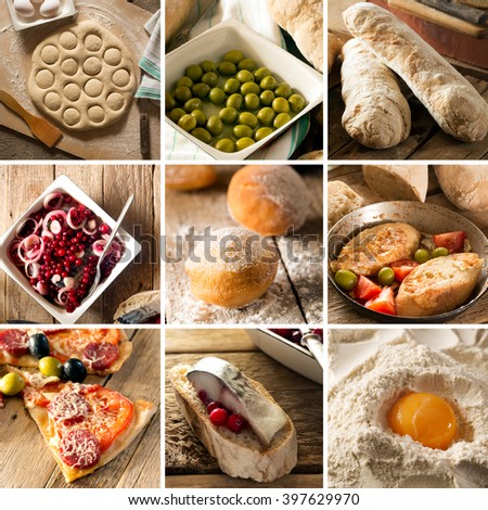 Natural food. Photo collage. Rustic style and background