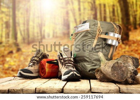 natural forest background and table of wood space  - stock photo