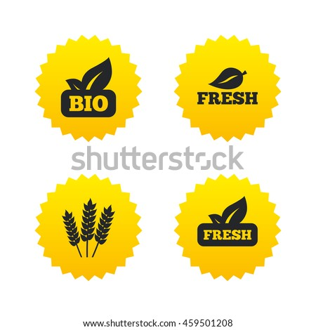 Natural fresh Bio food icons. Gluten free agricultural sign symbol. Yellow stars labels with flat icons.  - stock photo