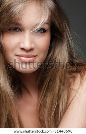 natural fresh blond woman portrait - stock photo