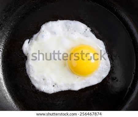 natural fried egg on a pan