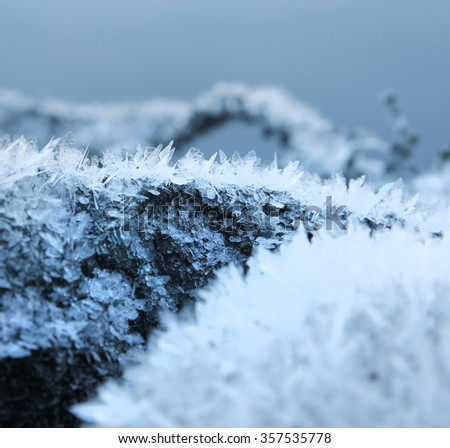 Natural frost snow ice crystals seasonal background - stock photo