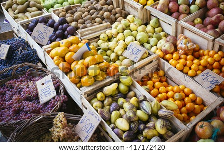 natural fruit in market - stock photo