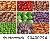 natural fruits and vegetables backgrounds collage - stock photo
