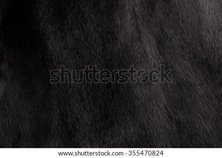 Natural fur mink black. Close-up, texture - stock photo