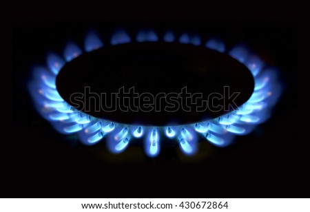 Natural gas blue flames  - stock photo