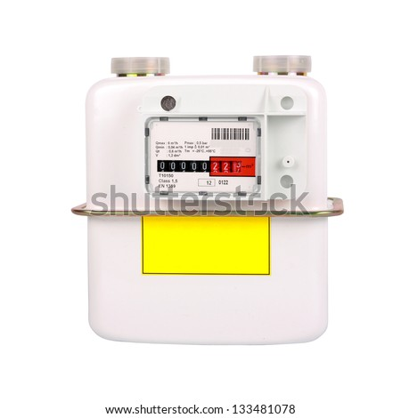 Natural Gas Meter. Isolated on white background. Including clipping path. All copyrighted elements removed. - stock photo