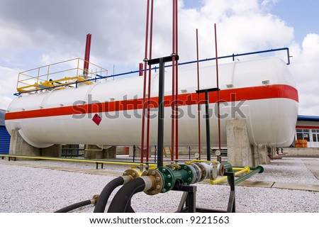 Natural gas station fuel tank - stock photo